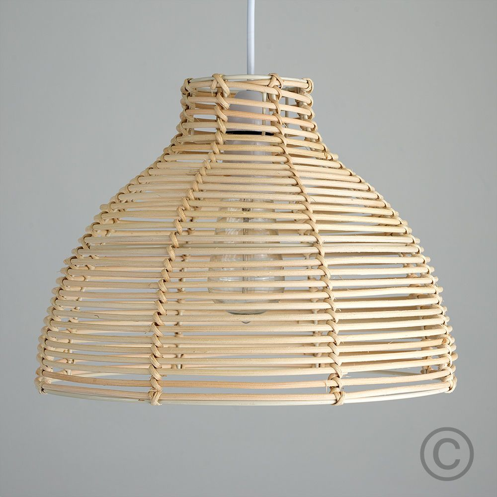 Contemporary Cream Wicker Basket Ceiling Pendant Light Shade Rattan No Wiring Modern Style In A Finish It Simply Attaches