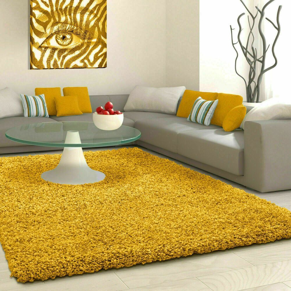 5cm High Pile Small Premium Large Quality Shaggy Rug Ochre Yellow Mustard Gold 5cm Gold In 2020 Yellow Room Decor Area Room Rugs Modern Furniture Living Room #yellow #rug #living #room
