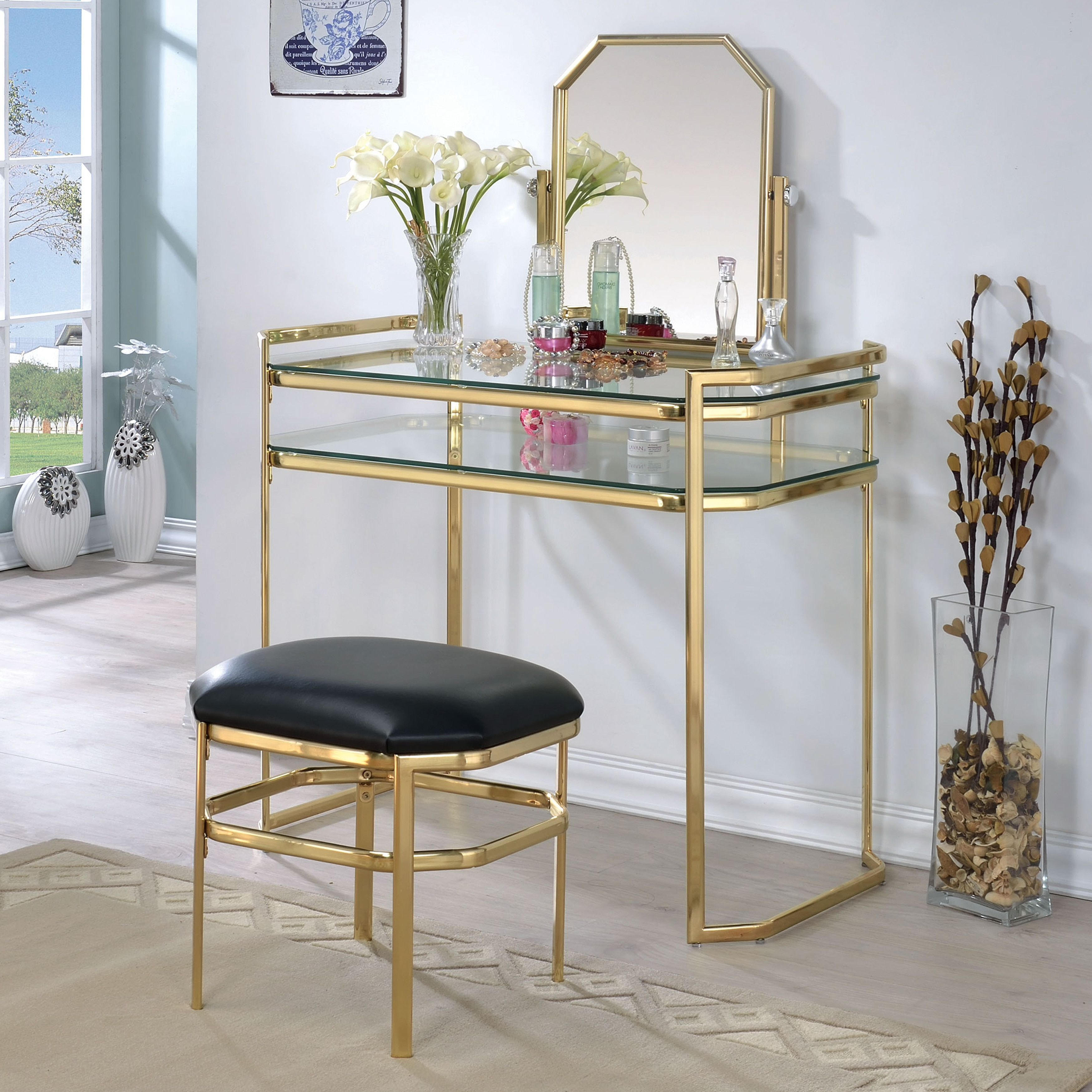 Furniture Of America Rima Contemporary 2 Piece Glam Vanity Table And Stool  Set (Gold)