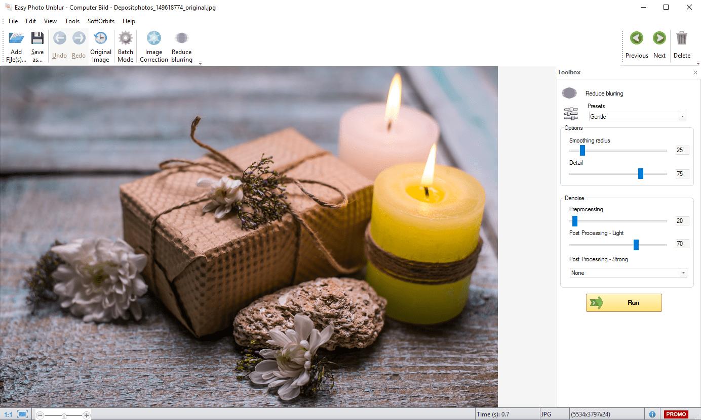 SoftOrbits Easy Photo Unblur Screenshot | Software Interface