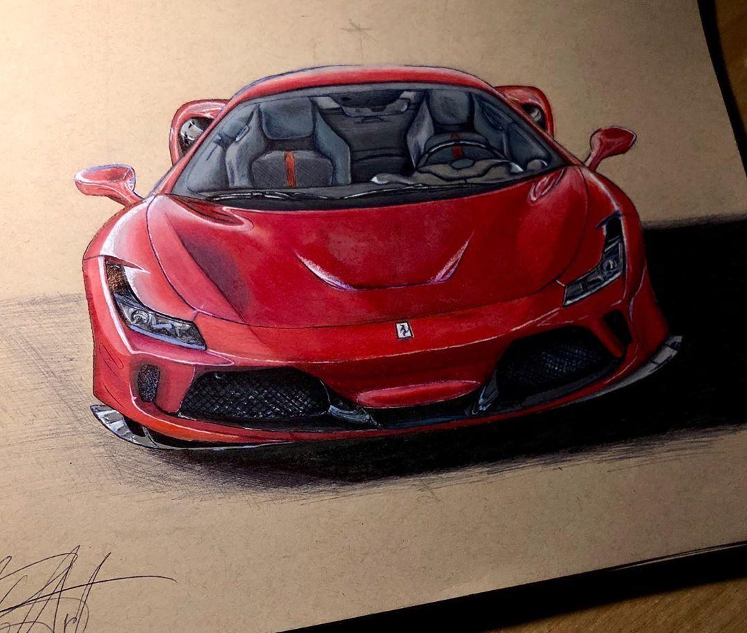 Ferrari F8 Tributo Drawing Draw Ferrari Ferrarif8tributo F8tributo Sketch Red Rosso Velocit Fast Car Cardrowing Design P Ferrari Car Car Sketch