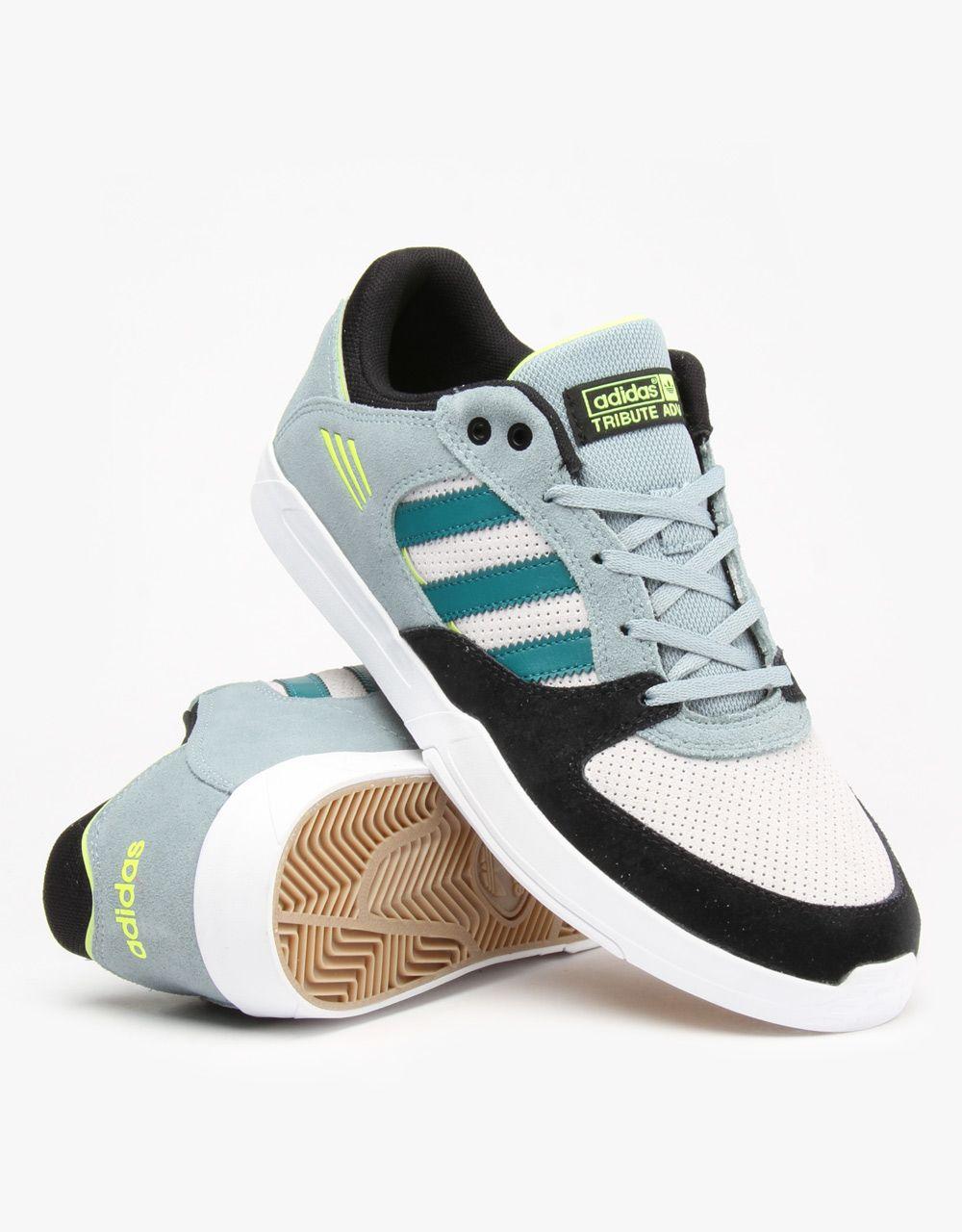 Adidas Tribute ADV Skate Shoes - Green Earth/Core Black/Solar Yellow