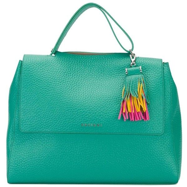Orciani fringed detail tote (9,100 MXN) ❤ liked on Polyvore featuring bags, handbags, tote bags, green, leather tote bags, genuine leather tote, green leather handbag, tote handbags and leather fringe purse