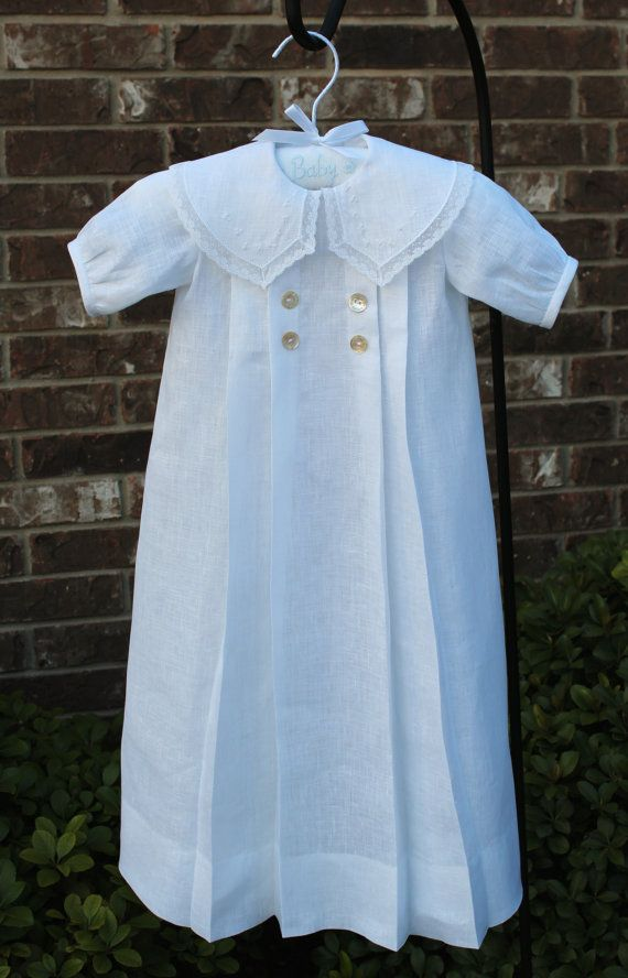 100% White Linen Christening or Special Occasion Gown
