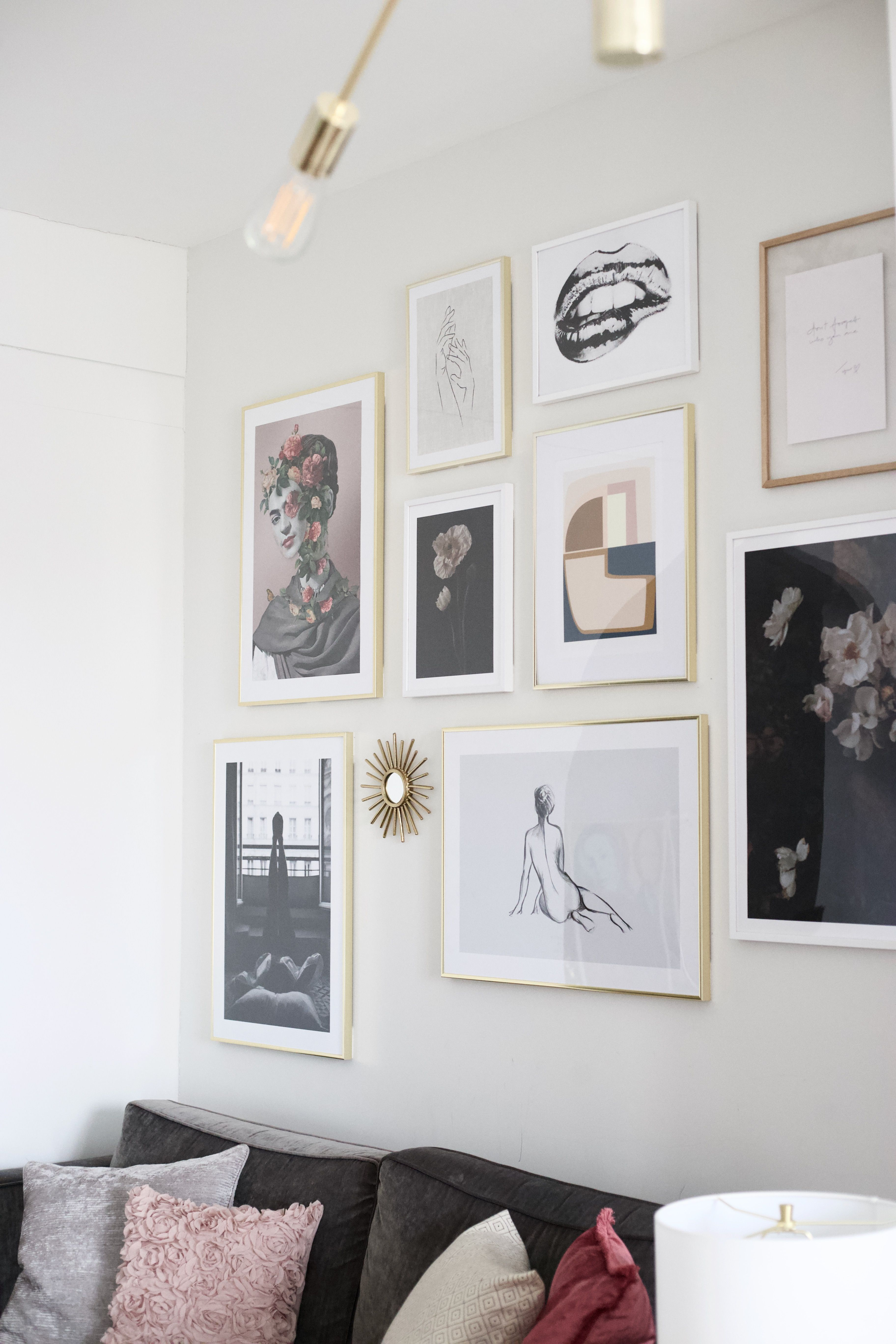 Gallery Wall Goals Using Desenio Posters Wall Art Decor Inspiration With Gold Frames Living Room Renovation Decor Living Room Spaces