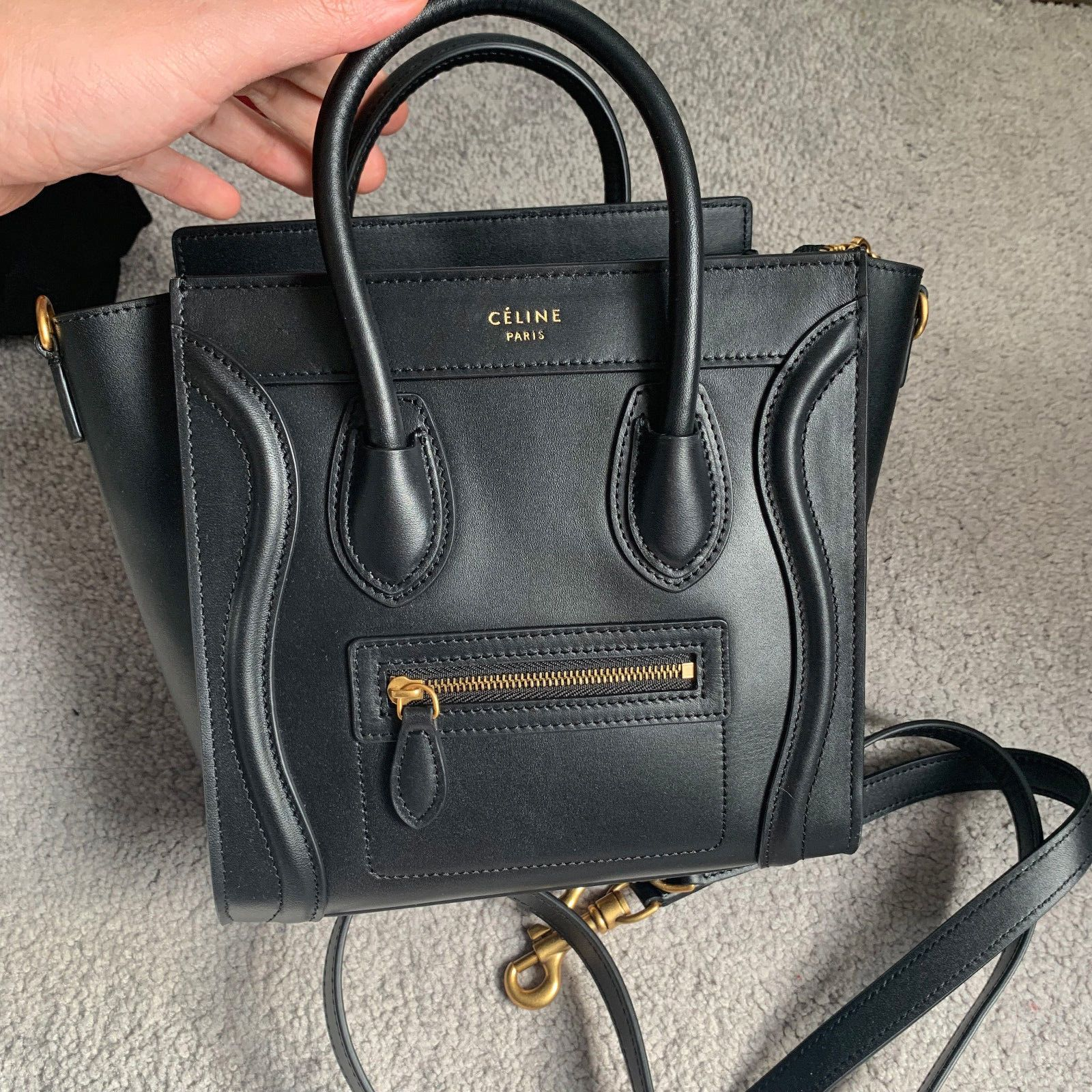 Auth Celine Nano Luggage Bag In Smooth