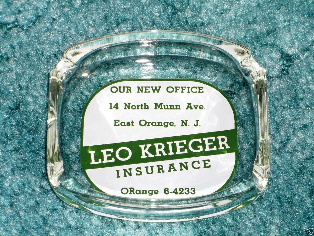 Vintage Leo Krieger Insurance East Orange New Jersey Ashtray Nj