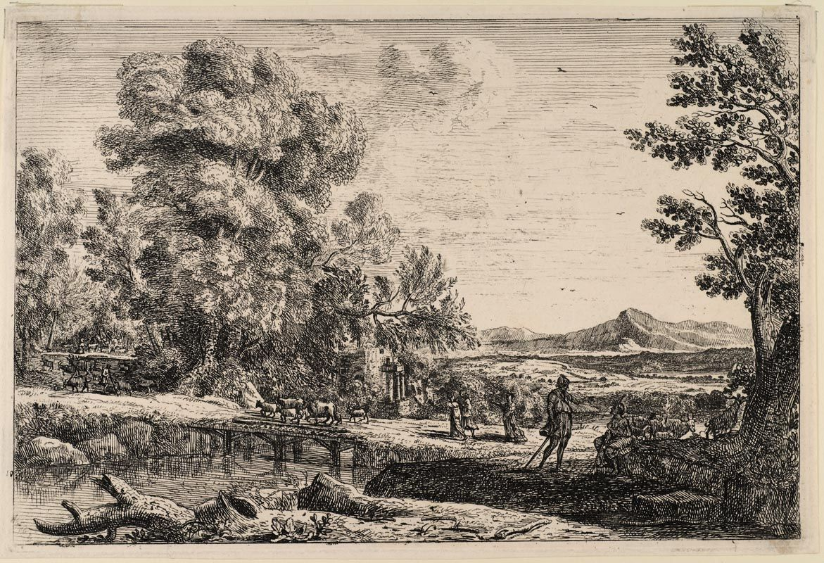 GELLEE, Claude (Lorrain) (1600-82) / The wooden bridge / etching