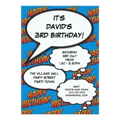 Personalised pop art comic book birthday invite invitations custom personalised pop art comic book birthday invite birthday diy gift present custom ideas filmwisefo