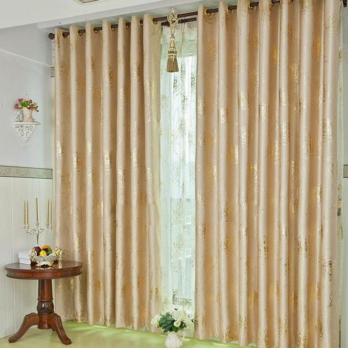Classic Gold Poly And Fiber Curtains For Blackout , Buy Champagne Print Thermal  Curtains, Cheap Fiber Linen Curtains Sale