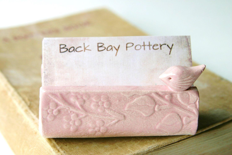 Garden Bird Ceramic Business Card Holder - Shabby Chic Pink | Garden ...
