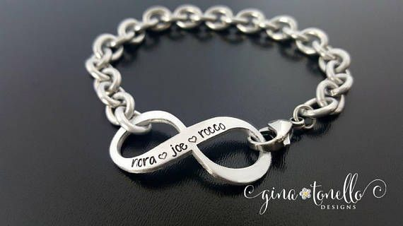 Infinity Bracelet With Kids Names Mom Personalized Grandmother Charm Name Jewelry By