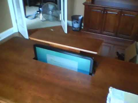 Pneumatic Monitor Lift - Great way to have more desk space when - faire son plan de maison soi meme