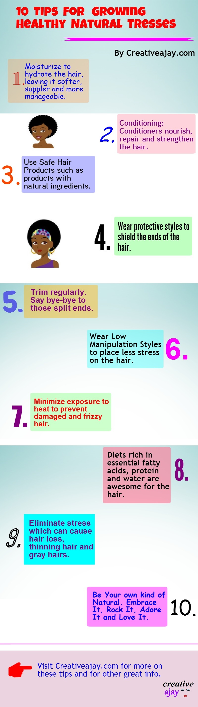 Top 10 Tips For Growing Healthy Natural Tresses Infographics Natural Hair Styles Natural Hair Care Healthy Natural Hair