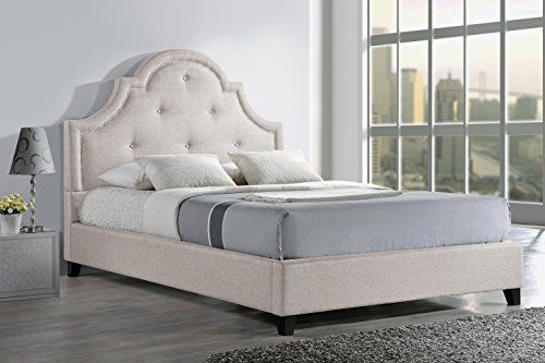 Buy Baxton Studio Colchester Linen Modern Platform Bed, Queen, Light Beige - reviewshomkit.com.com ✓ FREE DELIVERY possible on eligible purchases
