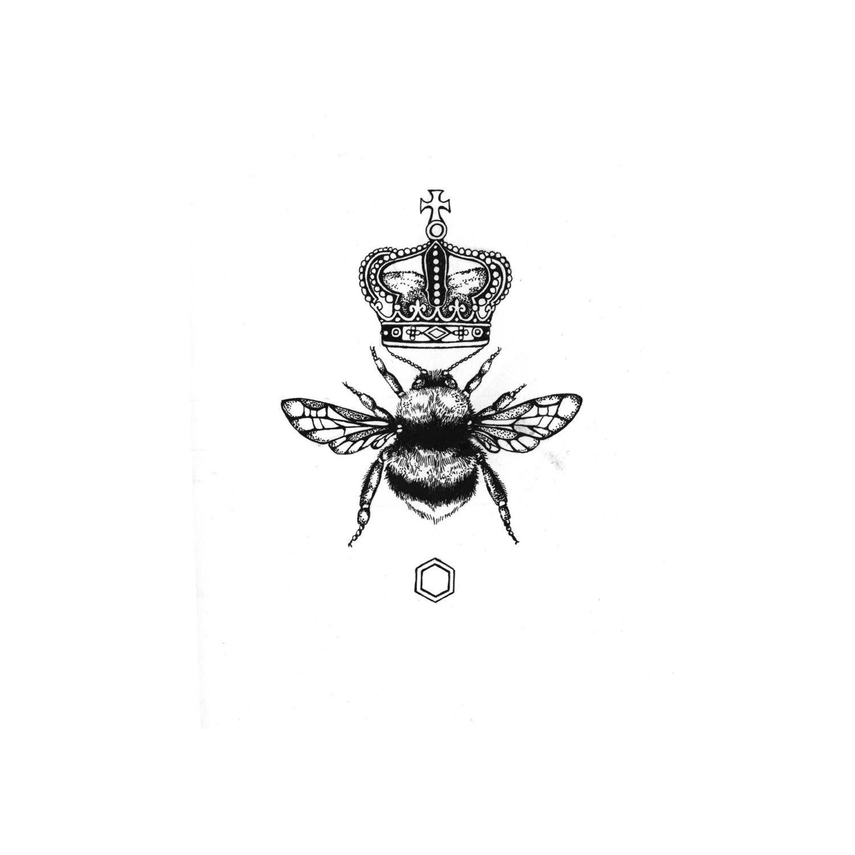 Emily Carter The Queen Bee Giclee Print A3 Queen Bee Tattoo Honey Bee Tattoo Bee Tattoo