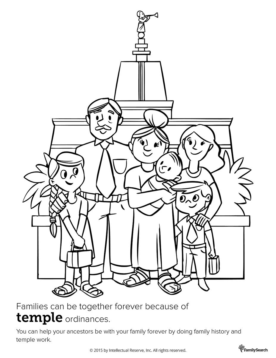 Family at the temple. Primary coloring page for kids. LDS