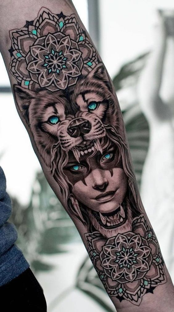 Tattoo motif Wolf tattoo and symbolizations for women and