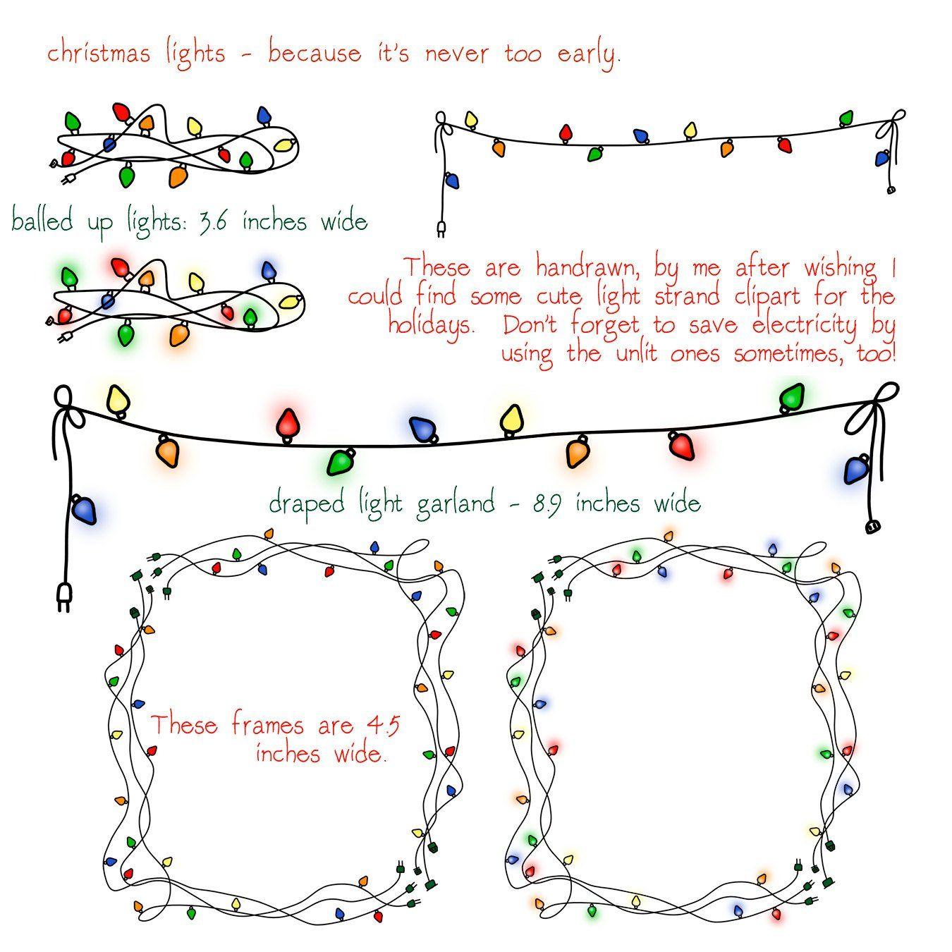 Christmas Lights Clip Art Transparent Background Frame Garland Photoshop Brushes Instant Download Christmas Light Clips Christmas Lights Light Clips