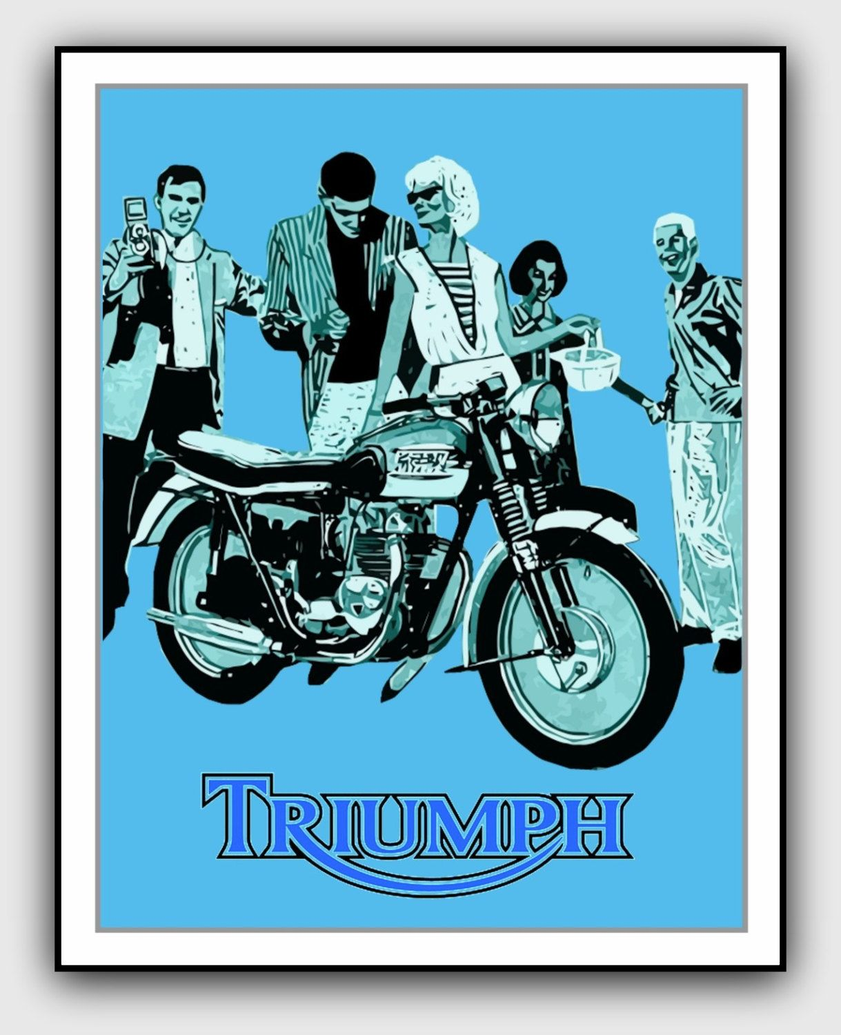 The Trusty Triumph Motorcyle Poster Vintage Motor Bike Reproduction Art Print A4