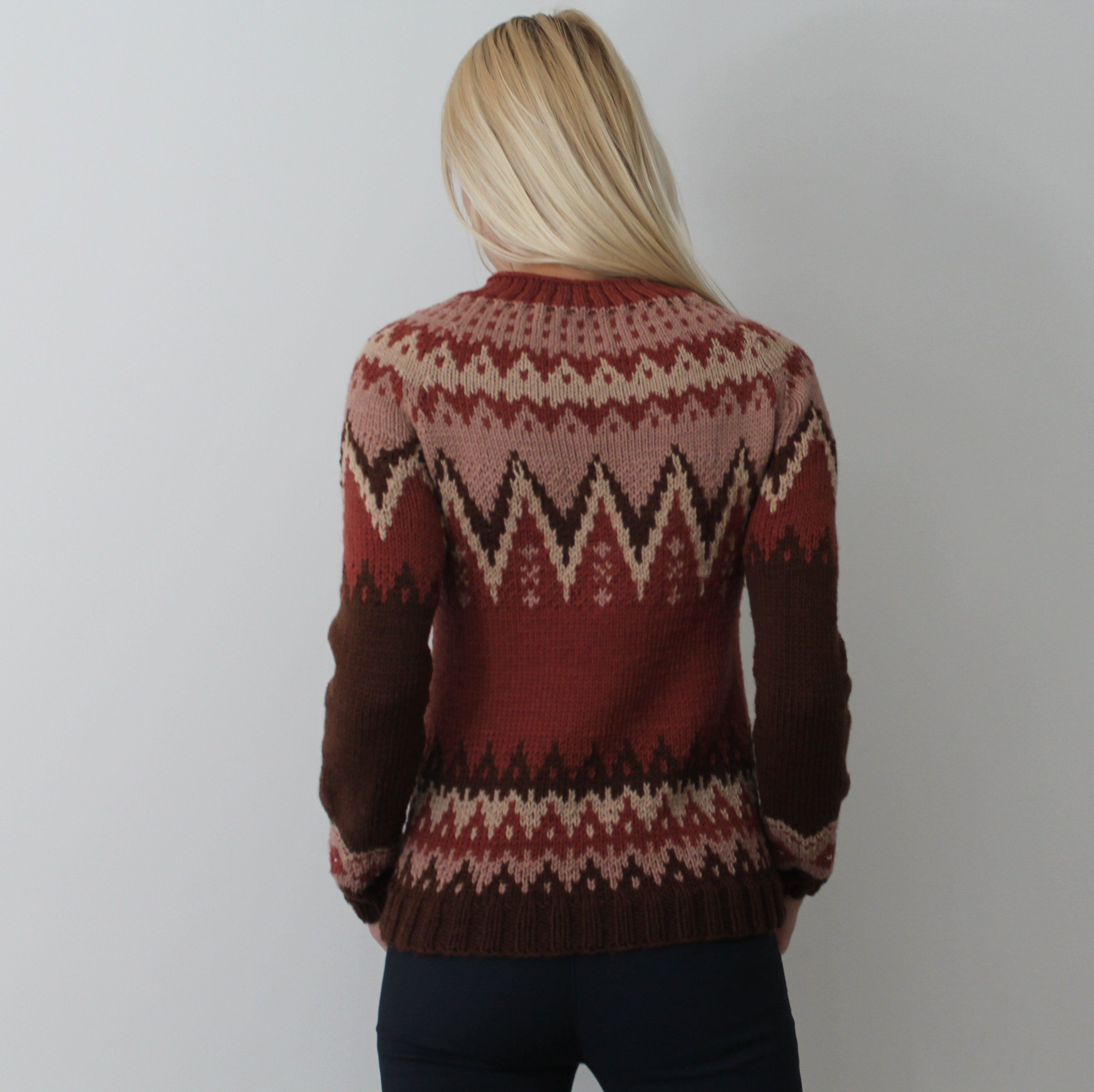 Hand Knit Nordic Fair Isle Wool Sweater Lopapeysa Norwegian Jacquard Sweater Scandinavian Hiking Knitted Cozy Sweaters For Women Jumpers And Cardigans Sweaters