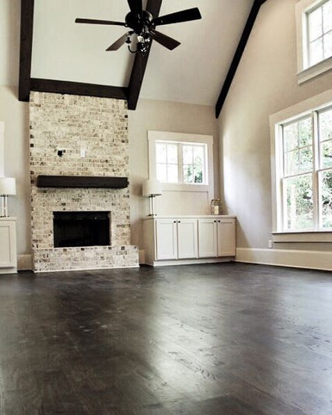 Dark Floors Light Walls Our Favorite Combo The Trim And Cabinets Are Sherwinwilliams Shoji White Sw 7042 5 Wide Red Oak Site