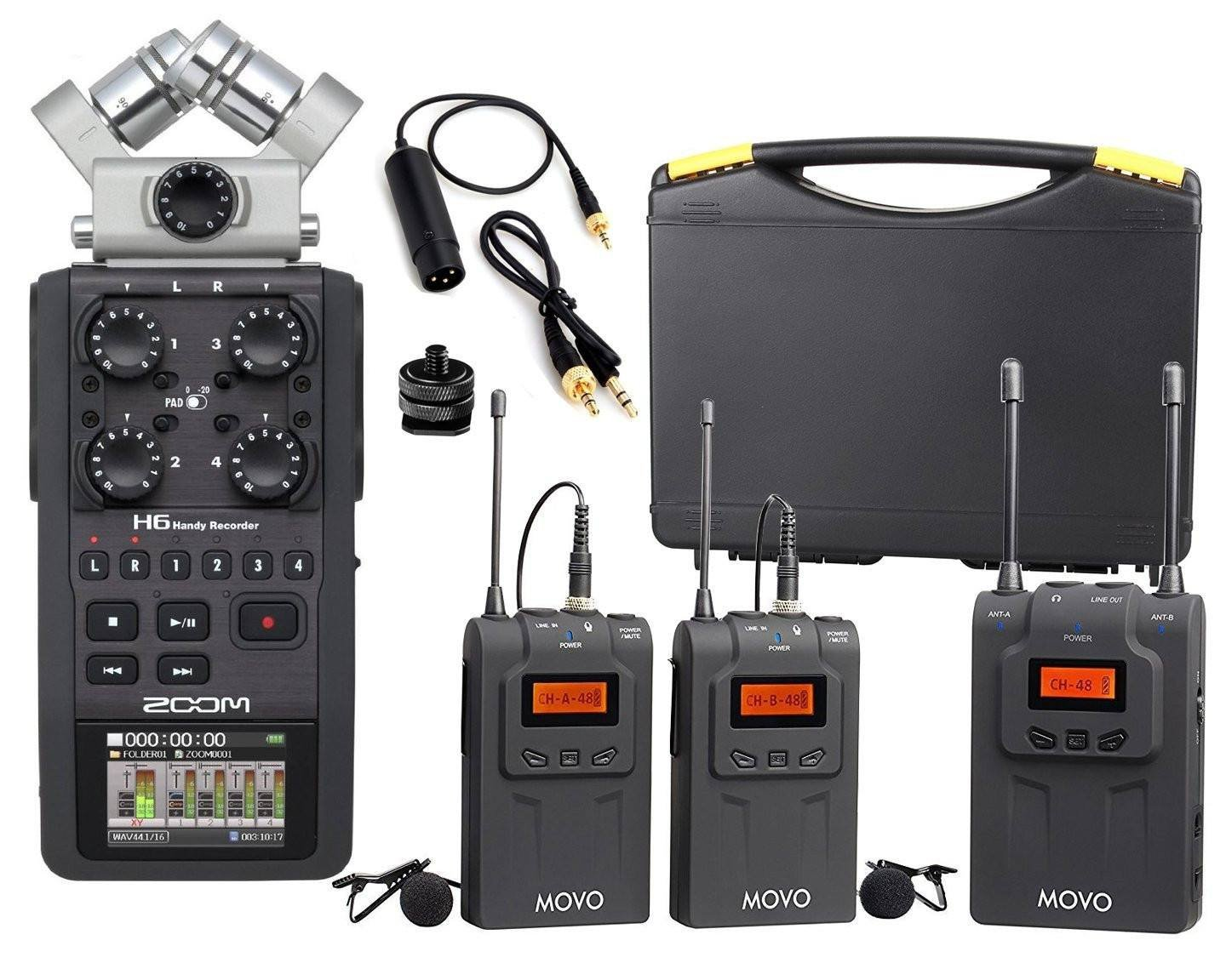 Zoom H6 Recorder Zoom H6 Portable Recorder Bundle With Movo Uhf Wireless