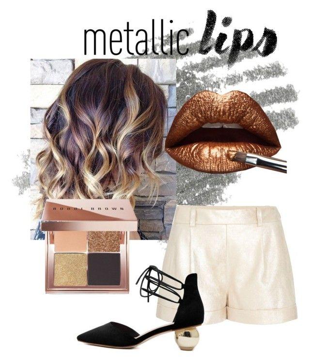 """metallic lips"" by peparuiz ❤ liked on Polyvore featuring beauty, Diane Von Furstenberg, Bobbi Brown Cosmetics and metalliclips"