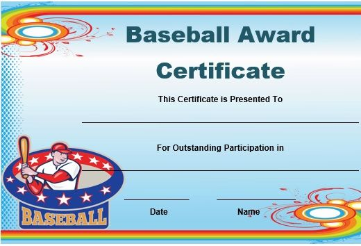 Free Baseball Award Certificate Template Word  Baseball