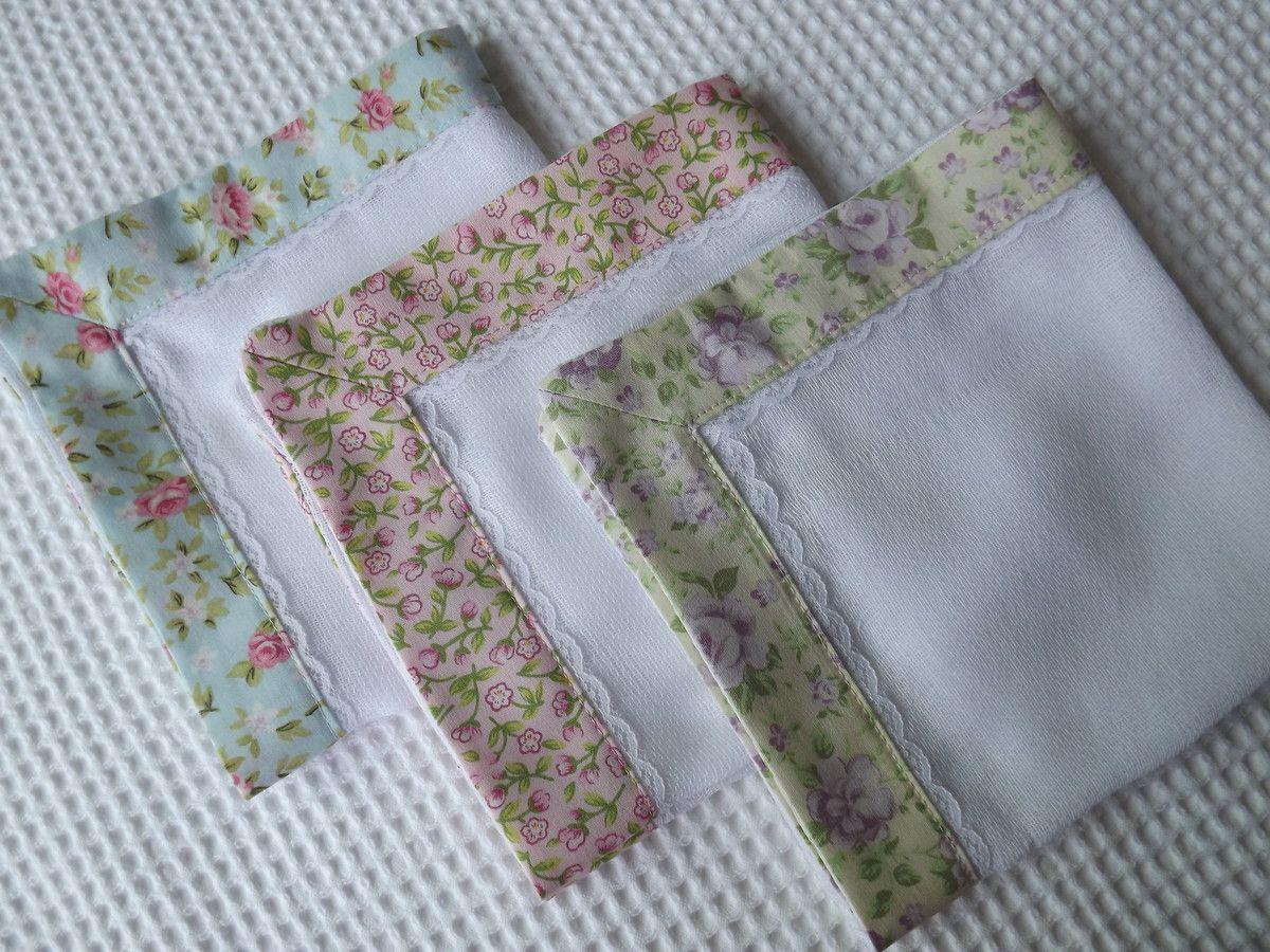 Kit com 3 fraldinhas de boca confeccionados em tecido 100% algodão e fralda de alta qualidade