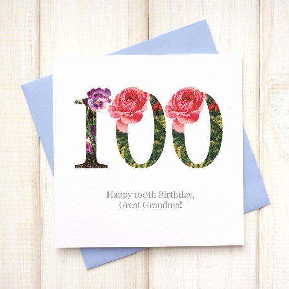 100th Birthday Card Birthday Card For Her Floral Birthday Card
