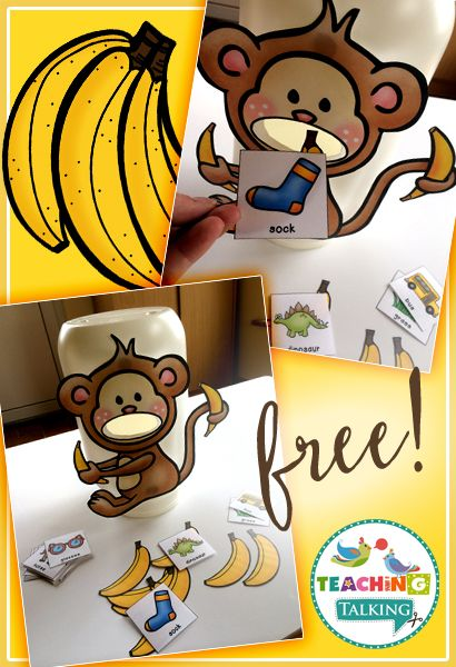 """This adorable freebie will certainly get your students excited about working on their articulation goals. After creating your """"hungry"""" monkey, your students practice saying each target word. Once they say the word correctly reward them by allowing them to feed their fun friend a banana. This download includes: 1 sheet of full color cards to target …"""