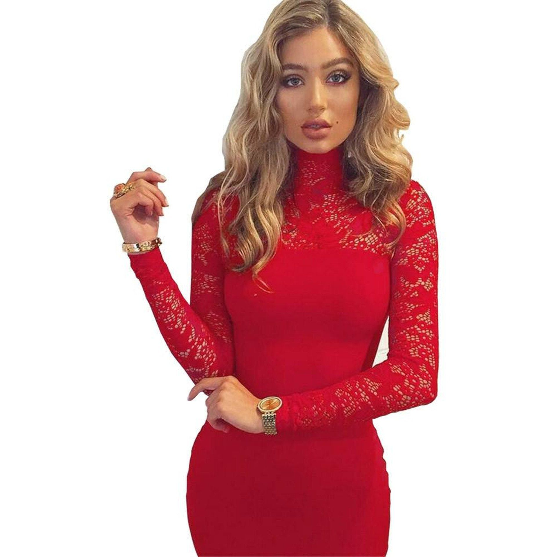 Long sleeve lace turtleneck dress u zillychic fit and flare