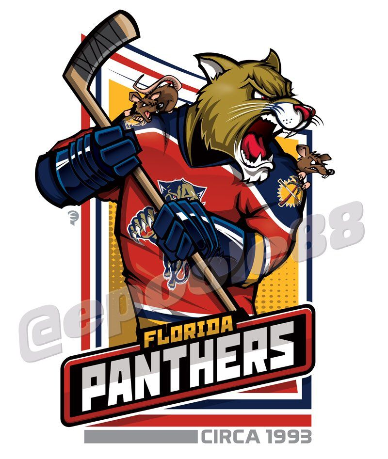 Retro mid-1990s Florida Panthers, courtesy of that great cartoonist #EPoole88.