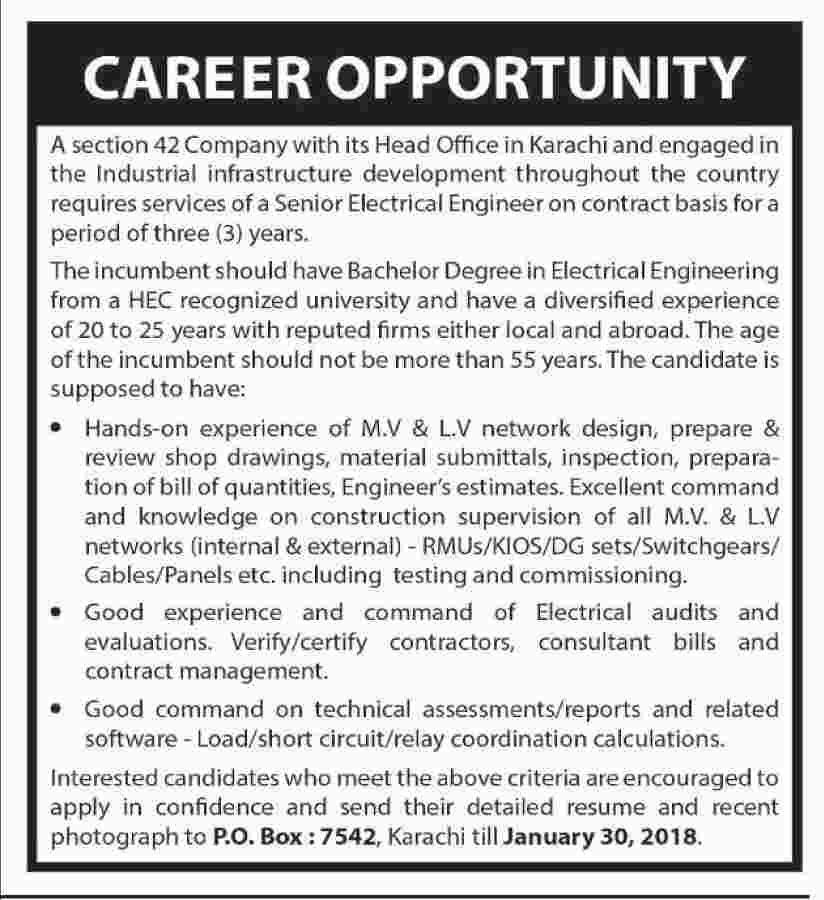 Senior Electrical Engineer Jobs In Karachi 13 Jan 2018 Electrical Engineering Engineering Electricity