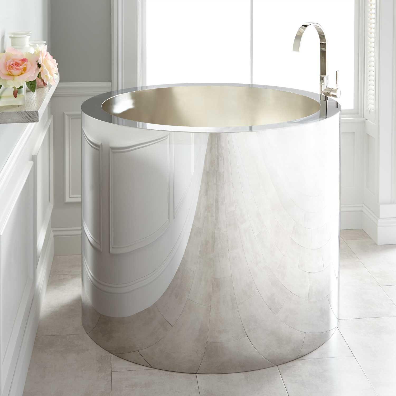 43 simone polished stainless steel soaking tub brushed interior
