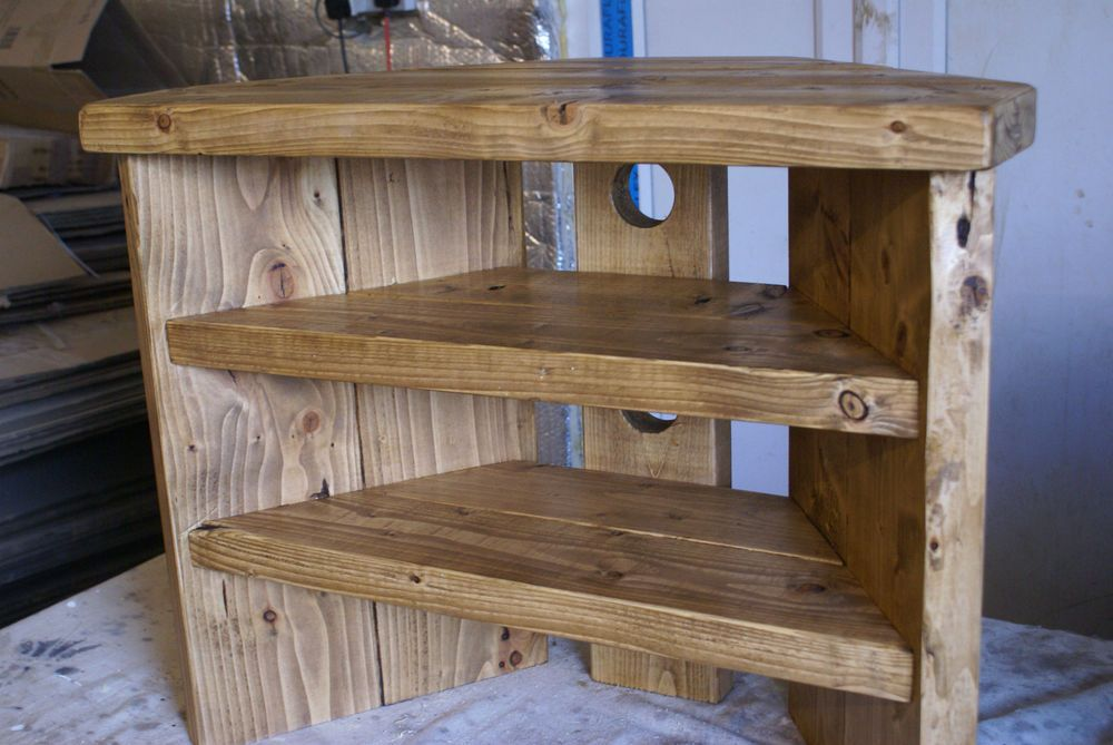 Rustic Corner Tv Stand Solid Wood Unit Cabinet Plank Sleeper Oiled