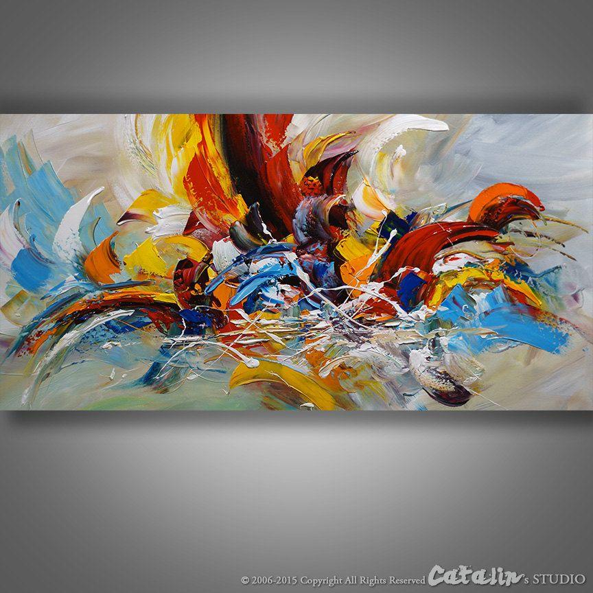 Abstrait couteau palette peinture peinture moderne par for Peinture abstraite moderne