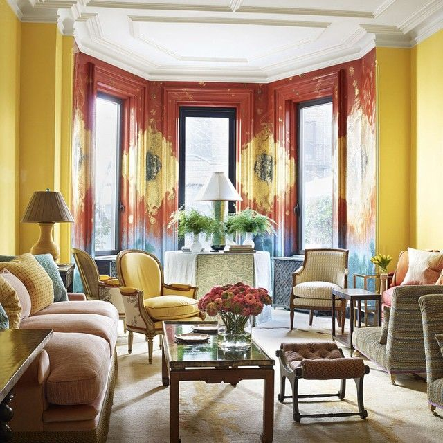 Color us impressed! For the living room of a Manhattan townhouse, designer Jeffrey Bilhuber used vibrant hues to create truly cheerful interiors.  by William Waldron