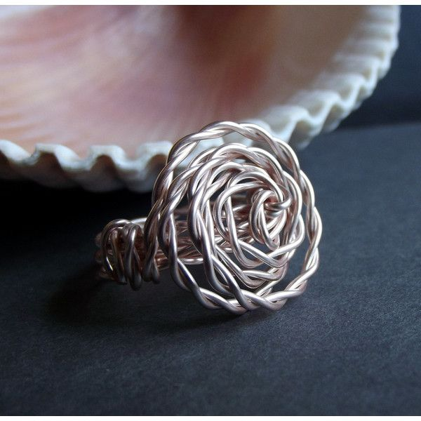 Rose Gold Ring Wire Wrapped Rosette Statement Ring Large Spiral