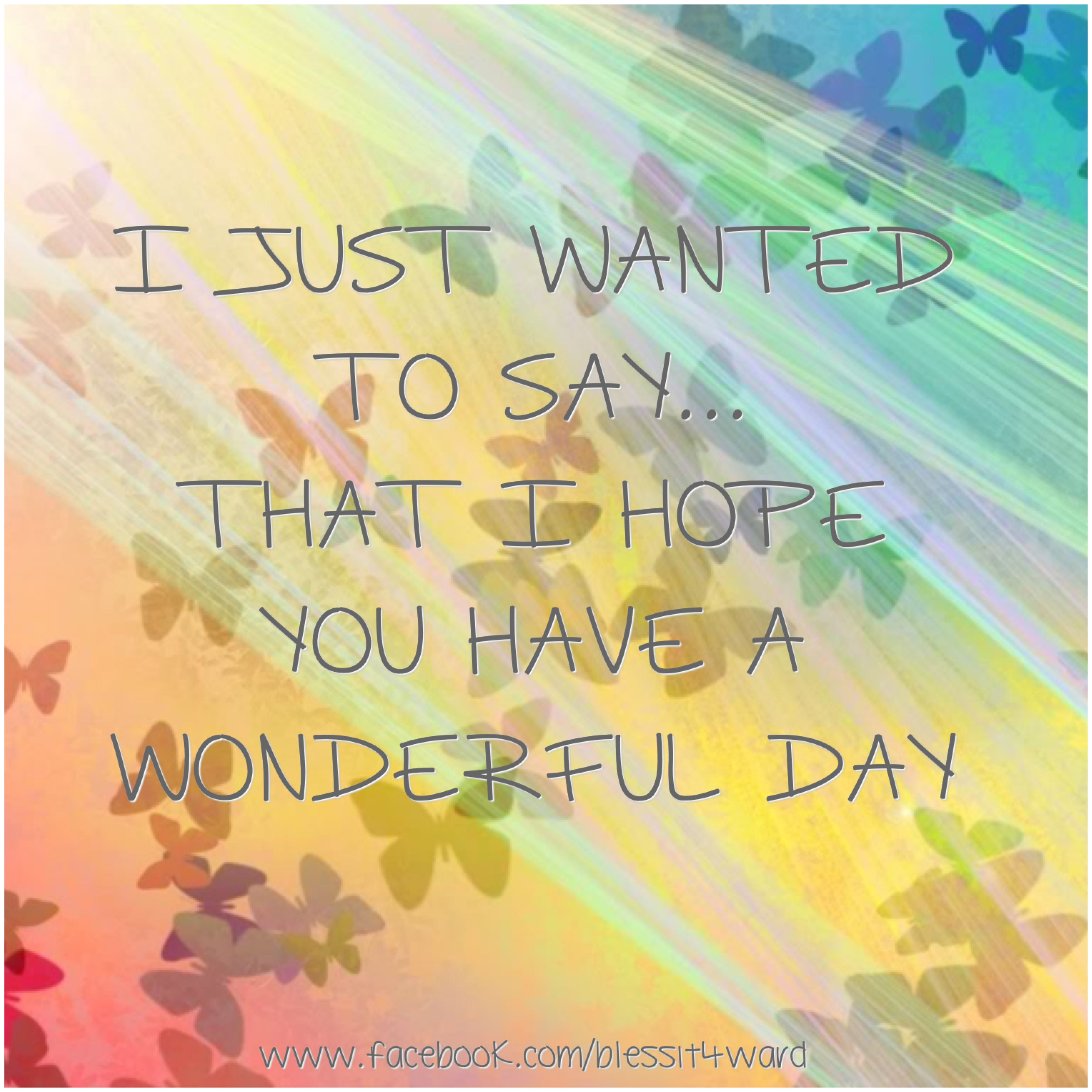 I Just Wanted To Say That I Hope You Have A Wonderful Day Good