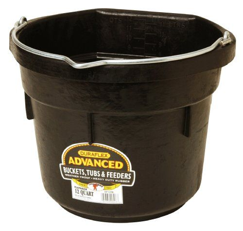 Miller Manufacturing Rubber Flat Back Bucket For Horses 12 Quart Little Giants Bucket Rubber Flats