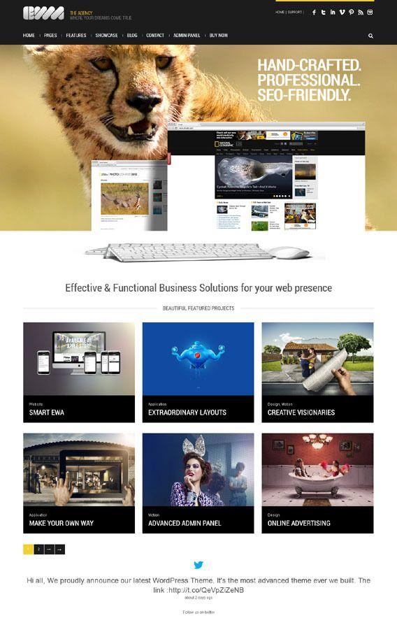 Ewa Wordpress Responsive Bootstrap Business Theme By Premium Themes Via Behance Interesting Stuff Mobile Web Design Web Design Interactive Design