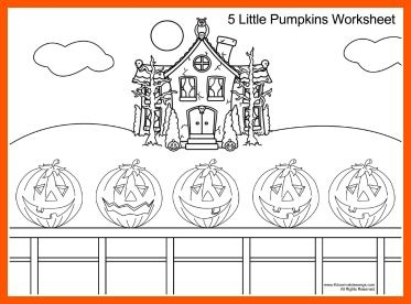 5 little pumpkins sitting on a gate coloring sheet for Five little pumpkins sitting on a gate coloring page