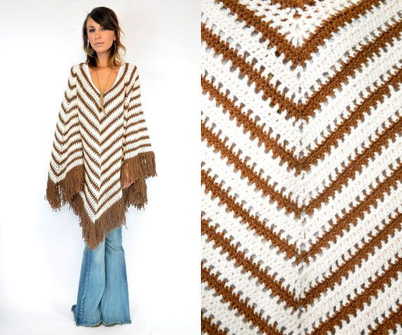 Vintage 1970s Knitted Bohemian Hippie Chevron Striped Sweater Poncho