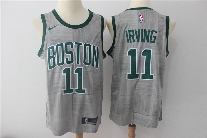 af0035ce0b9f3 Mens Boston Celtics #11 Kyrie Irving city edition basketball jersey grey