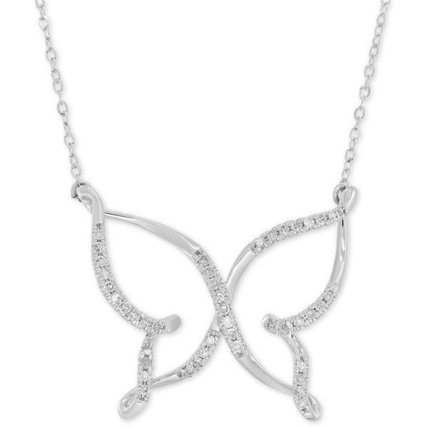 Diamond (1/10 ct. t.w.) Butterfly Pendant Necklace in 10k White Gold ($400) ❤ liked on Polyvore featuring jewelry, white gold, white gold diamond jewelry, sparkle jewelry, monarch butterfly jewelry, white gold jewelry and pendant necklace
