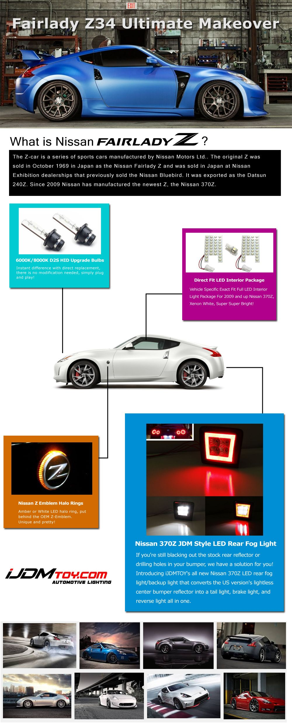 The Ultimate Modification Guide For Your Nissan Fairlady Z34 370z 1 Hid Headlight Bulbs 2 Led Interior Package 3 Z Em Nissan Nissan 370z Nissan Accessories