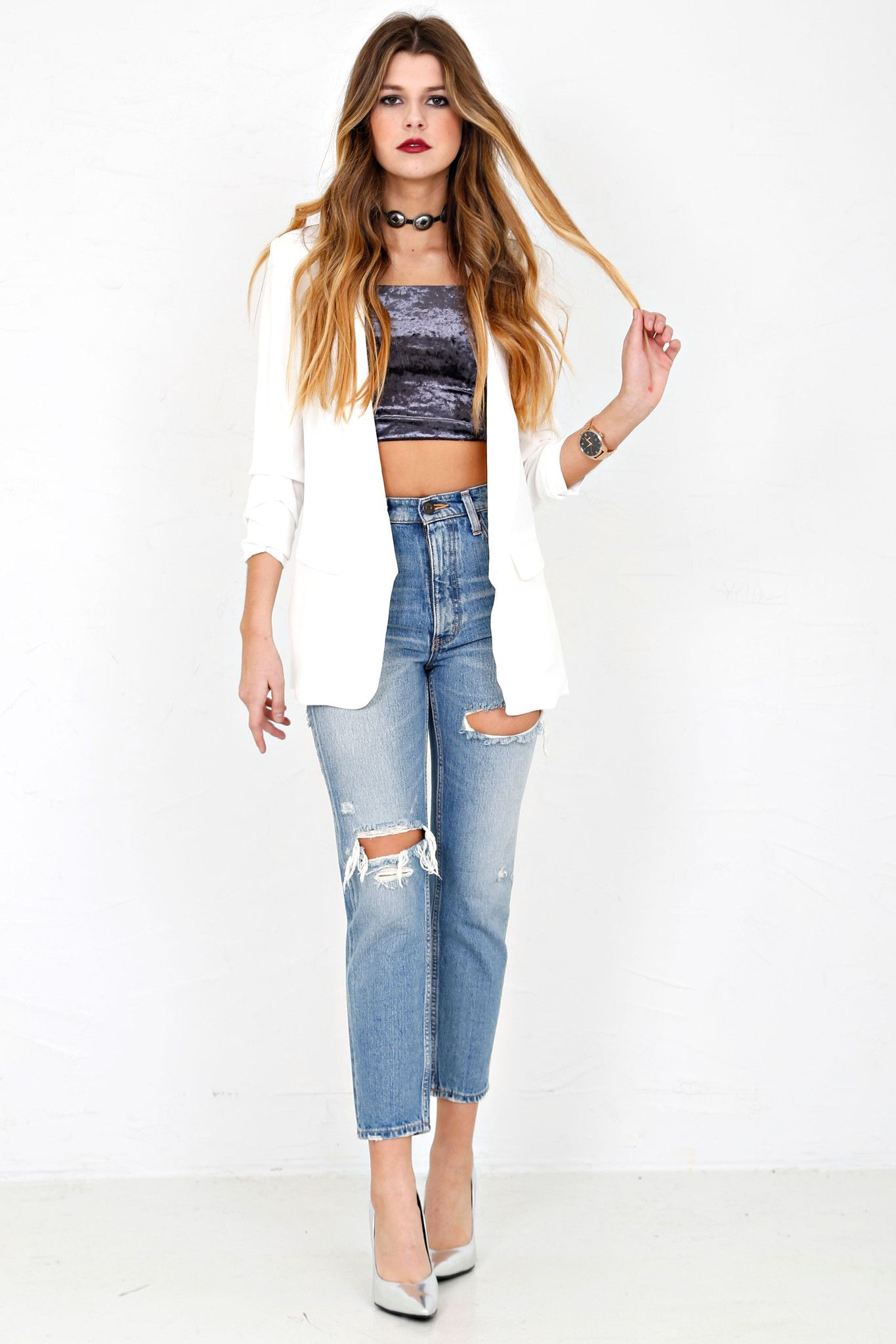 Basic Boyfriend Blazer - White