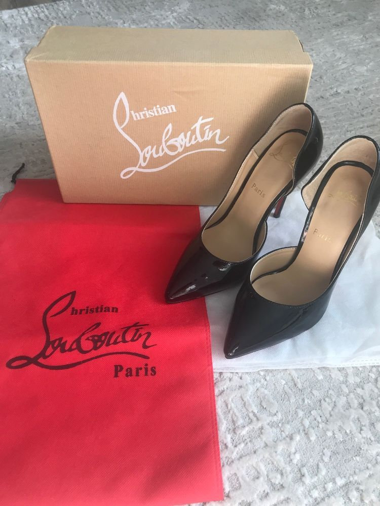 a314824140 CHRISTIAN LOUBOUTIN IRIZA BLACK PATENT LEATHER D'ORSAY PUMPS 100MM HEEL SIZE  37 #fashion